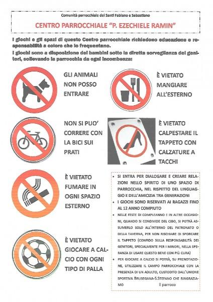 Regole per il parco parrocchiale